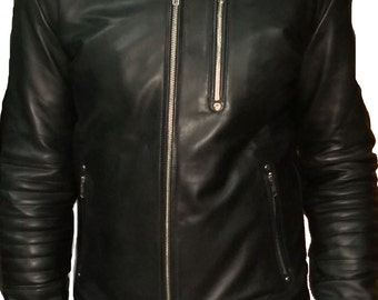 Moto leather jacket with quilted patterns