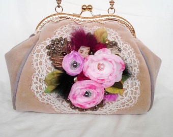 Bohemain bag purse Shabby Chic Cross Body Tote Bag, inspiration Baroque era,antique textile art aplique roses
