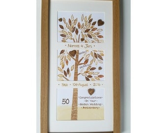 Framed Wishes Anniversary Golden Patchwork Tree FW WE04