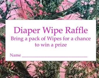 Instant Download Pink Camo Diaper Wipe Raffle Cards, Printable Pink Camouflage Diaper Wipe Raffle,