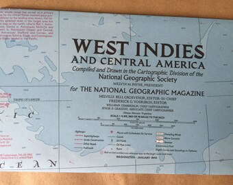 Vintage 1970 National Geographic Map of West Indies
