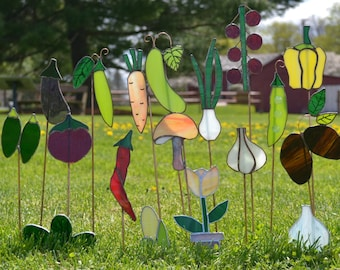 Set of 5 - Stained glass garden marker stakes