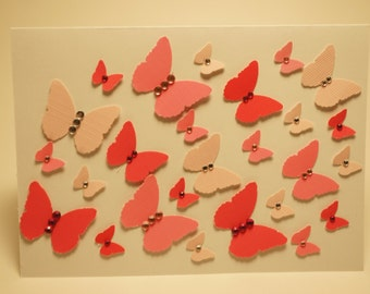 Handmade Bright Pink and Light Pink Rhinestoned Butterfly Card