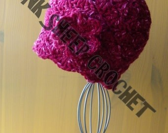 Silk Raspberry Cloche with Flower for Baby  *** READY TO POST ***
