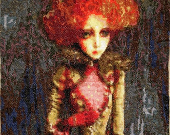Completed Cross stitch piece Vintage Doll