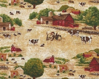 Cow Fabric...Farm Cows Scenic Quilt Fabric Timeless Treasures 9501.