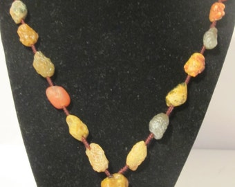 Spacial  Rustic Colored Agate Necklace
