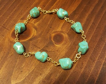 Turquoise and gold chain bracelet