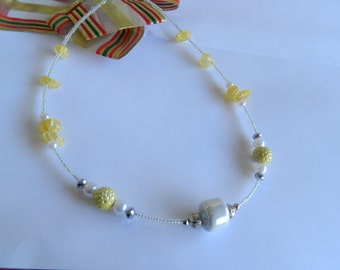 Lemon and white beaded necklace