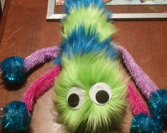 Green and Blue Furry Creature Plushie