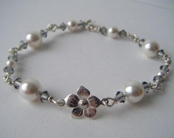 Bridal Flower Bracelet: Handmade, Sterling Silver