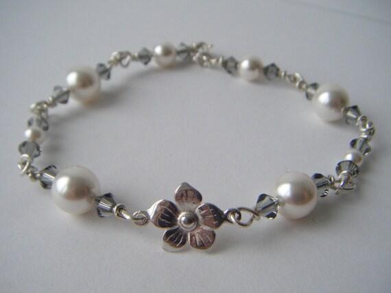 Bridal Flower Bracelet : Bridal flower bracelet handmade sterling silver