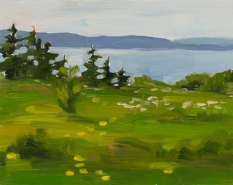 Wildflowers by the sea - Landscape Painting - Oil on Panel