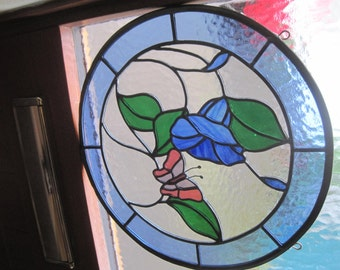 Stained Glass Convulvulus with Butterfly