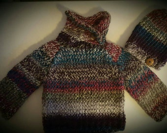 Kids knit angora blend sweater and hat with coconut buttons. Size apx 6. Ribbing around waist & wrists