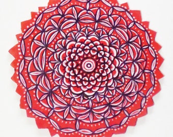 Red cauliflower mandala to hang on the wall