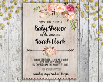 Gold and White Baby Shower Invitation Gender Neutral Baby