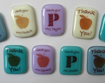 Personalised fridge magnet, fused glass magnet, teacher thank you, teacher gift, gift for grandma, Father's Day gift, Mothers Day gift