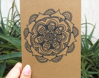 Hand Drawn Black Mandala Greeting//Birthday card