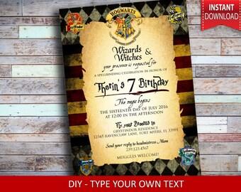 Harry Potter Invitation - Harry Potter Birthday Invitation - Harry Potter Party - Harry Potter Party Invite - Gryffindorf - Wizard Party