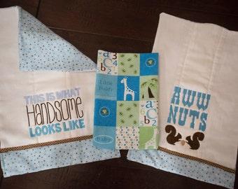 Fully Lined Baby Boy Burp Cloth Set