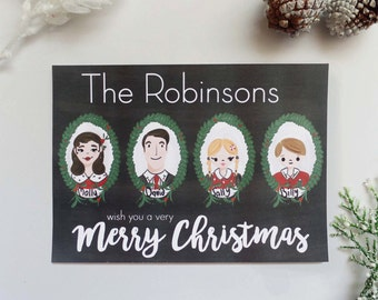 Personalized Christmas Portrait Post Card Set, Custom Christmas Card, Illustrated Family Portrait Christmas Post Card, Holiday Post Card Set