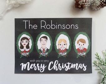 Personalized Portrait Christmas Card Set | Custom Christmas Card, Christmas Greeting Card, Holiday Greeting Card, Merry Christmas Card