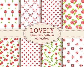 Lovely Seamless Pattern Set