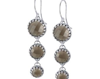 Argentium Silver Earrings with Smoky Quartz - Handmade
