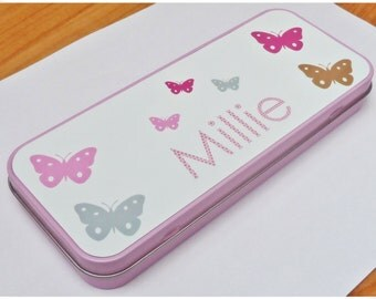 PERSONALISED Butterfly  Butterflies Pink Girls Tin PENCIL CASE Back to School Stationery