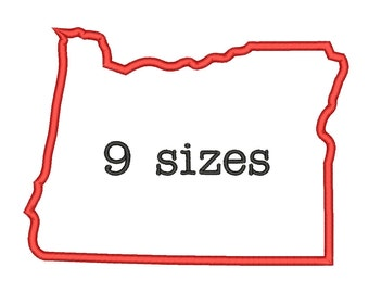9 Sizes Oregon State Appliqué Embroidery Machine Embroidery Designs Embroidery USA State Outline Design - Instant Download