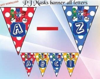 PJ masks banner,PJ masks invitation , PJ masks party, pj masks birthday - Instant Download