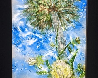Sabal Palm and Night Blooming Cactus Lightbox painting