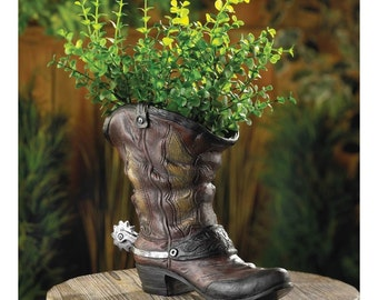 Country Western Spurred Cowboy Boot Flower Pot