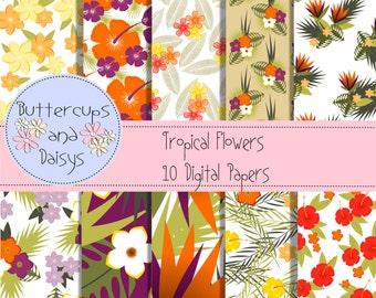 Tropical Flowers Digital Papers