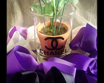 Chanel Inspired Vase Glass