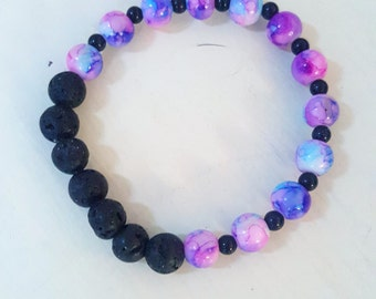 celestial beaded bracelet with black lava beads