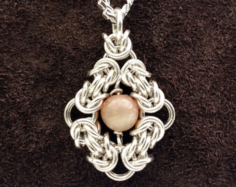 Byzantine Eye Chainmail Pendant - Sterling Silver with Peach Moonstone