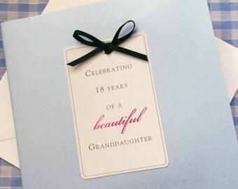 Beautiful Granddaughter 18th birthday card