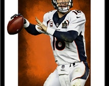 Peyton Manning Print- Fine Art - Modern Graphic Decor - Denver Broncos Football  2