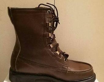 Men's Vintage Weyenberg Woodsman Leather Lace up Boots size 8E US