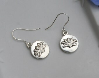 Lotus Earrings With Sterling Silver Plated Hooks