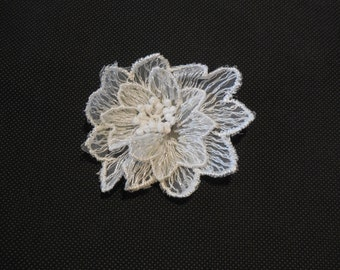 Small off white bridal wedding floral organza lace applique lace motif is for sale. sold by per piece