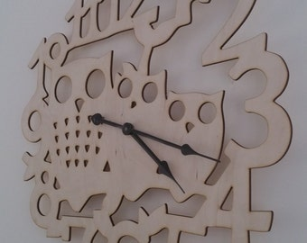 Large 50cm Decorative Wooden  Owl Clock