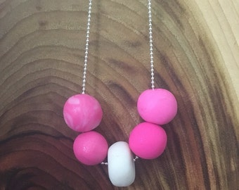 Pink and white clay necklace
