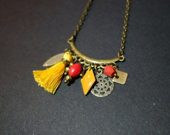 Summer boho necklace red and yellow mustard and bronze