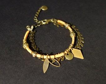 Indian and bronze orange boho bracelet