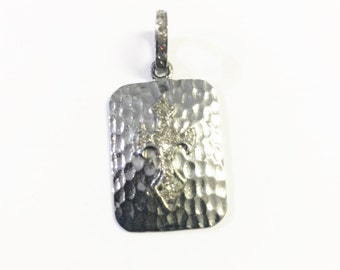 Pave diamond in sterling silver pendant