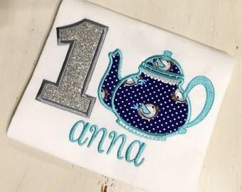 Tea Party Birthday Shirt // Teapot Shirt // Girl Birthday Shirt // Monogrammed Birthday Shirt // Tea Party 1st First 2nd Second