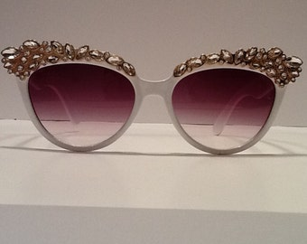 White Sunglasses with Crystals